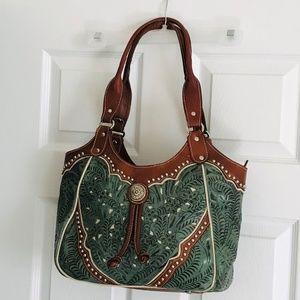 American West Teal LADY LACE Floral Shoulder Bag